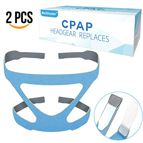 CPAP Headgear ResMed Replacement - 2 Packs Supplies for Resmed CPAP Head Strap Replaces - 4 Point Connection Nasal & Full Face Masks ♥Headgear Only♥ Comfortable Fit & Tight Seal - Medium Size-Blue -