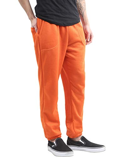Ma Croix Mens Lightweight Sweapants with Pockets Elastic Waist Joggers (3X-Large, 1ih02_Orange) (Mens Orange Camo Sweatpants)