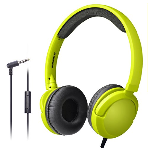 Avantree Long Cord Wired Headphones with Microphone(1.5M/4.9FT), Superb Sound, Comfortable, for Kids, Adults, Lightweight, On Ear Headset for Phone, Laptop, Computer, iPad, Tablet - 026 Yellow Green