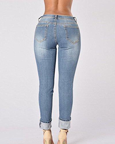 Push Dritto Strappato Donna Vita Azzurro Chiaro Casuale A Pantaloni Jeans Media Up Tzzgnq0