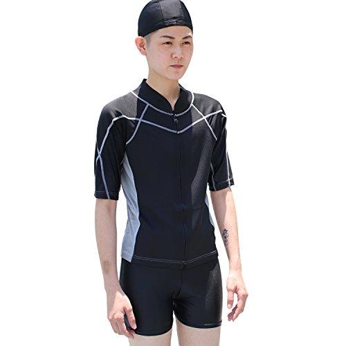 - Heroine Zipper Short-Sleeve Swim Chest Binder/Swimming Trunks and Cap Included (Large) Black