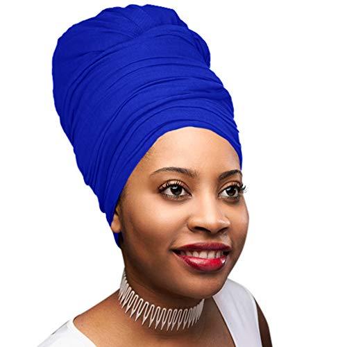 30 Colors| Novarena 1-4 Pc Solid Color Head Wrap Stretch Long Hair Scarf Turban Tie Kente African Hat Jersey Knit Headwrap (13. Royal Blue) ()