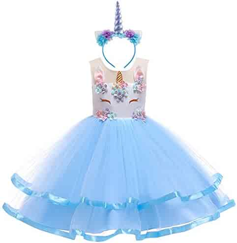 40d59bd28 IBTOM CASTLE Baby Girls Flower Mythical Costume Cosplay Princess Dress up  Birthday Pageant Party Dance Outfits