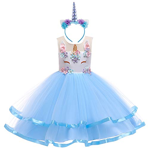 Teen Big Girl Christmas Holiday Unicorn 2,3,4,5,6,7 Year Old Gift for Baby Toddler Princess Costume Party Winter Ballet Clothes S# White+Blue(2pcs) 7-8 - White Dress Girl Baby And Blue