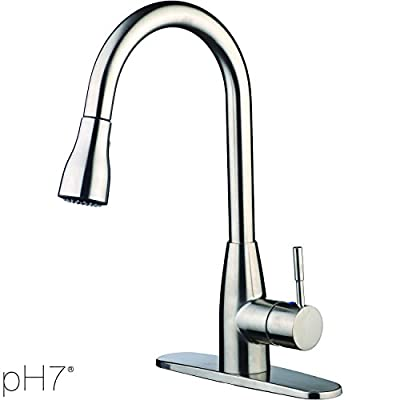 pH7® F04 1-hole or 3-holes Plastic Pull-down Kitchen Sink Faucet with Deck Plate; 1- handle Kitchen Faucet; Excellent Finish, Nylon Hose, and Docking System