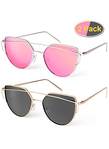 Elimoons Cat Eye Sunglasses Women Mirrored Polarized Metal UV 400 Fashion - In Cats Sunglasses