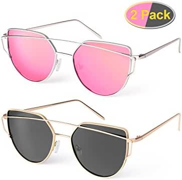Elimoons Cat Eye Sunglasses 2 Pack Women Mirrored Polarized Metal UV 400 Fashion Glasses