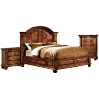 Furniture of America Lannister 3-Piece Elegant Bedroom Set with Nightstand and Chest, Eastern King, Antique Tobacco Oak Finish