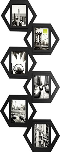 Kiera Grace Hexagon Collage Picture Frame, 14.5-Inch by 37-Inch, Holds 6-4 by 6-Inch Photos, Black