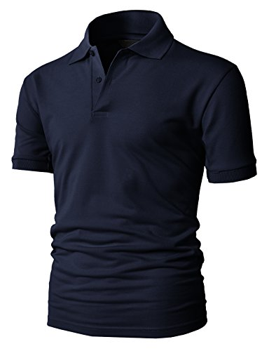 H2H Mens Casual Basic Pique Polo Shirts Short Sleeve of Various Colors NAVY US M+/Asia XL - Online Cooler India