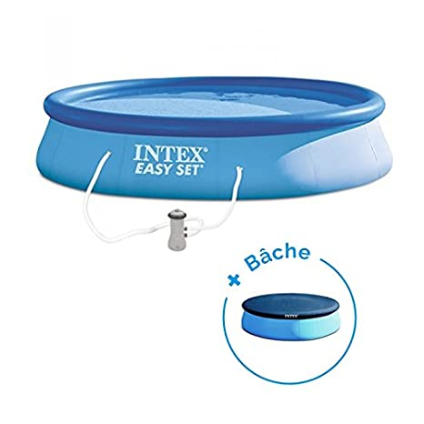 RAVIDAY Pack Piscina autoportée Easy Set Intex 3.96 x 0.84 ...