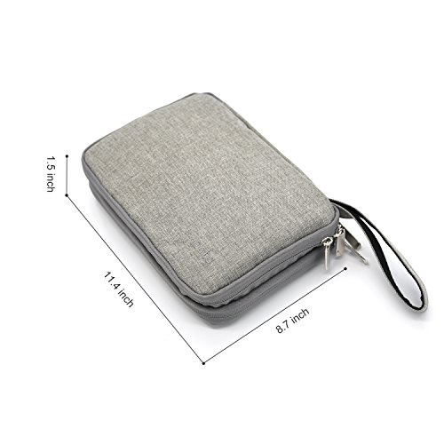 Portable Electronic Accessories Storage Case - Home and Travel Organizer for iPad Air Pro 9.7'', Tablets Up To 10'', E-Readers and Gadget (Hard Drive, Power Bank, Adapter, Cable, Memory Card), Gray by patu (Image #4)