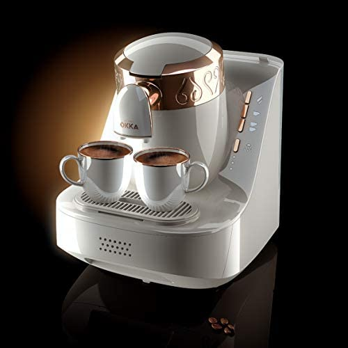 Arzum Okka OK001W Automatic 120V Turkish Greek Coffee Machine, White Copper Silver