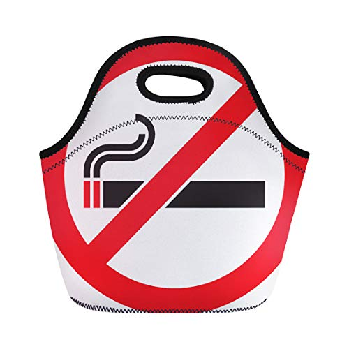 Semtomn Lunch Tote Bag Red Stop No Smoking Sign Symbol Cigarette Ban Tobacco Reusable Neoprene Insulated Thermal Outdoor Picnic Lunchbox for Men -