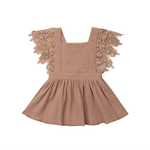 Toddler Baby Girl Infant Comfy Cotton Linen Lace Princess Overall Dress Sundress (Coffee, 9-18 Months) -