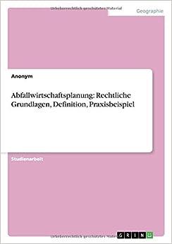 Book Abfallwirtschaftsplanung: Rechtliche Grundlagen, Definition, Praxisbeispiel