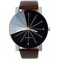 Ruhiku GW Men's Wristwatch, 1PC Men Quartz Dial Clock Leather Wrist Watch Round Case (Coffee)