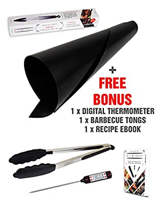 "Silicone Baking Mat - Works on Gas, Charcoal, Electric Grill, Barbecue Grill & Baking Mat - 3 Free Bonus Items - 12"" Kitchen Tongs + Digital Meat Thermometer + Healthy Recipes eBook"