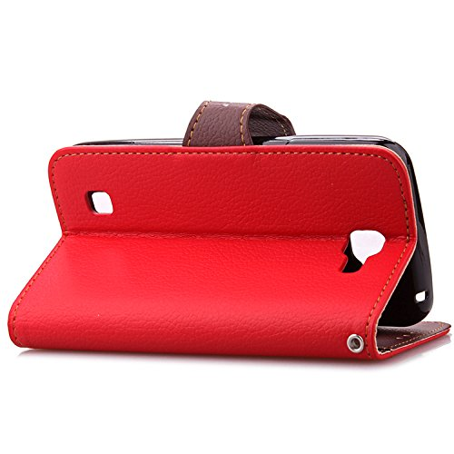 Wkae LG K4 Funda Flip Stand, hoja de cubierta de la caja de cuero de la PU, TPU + Estuche Billetera funda para LG K4 DIEBELLEU ( Color : Green ) Red