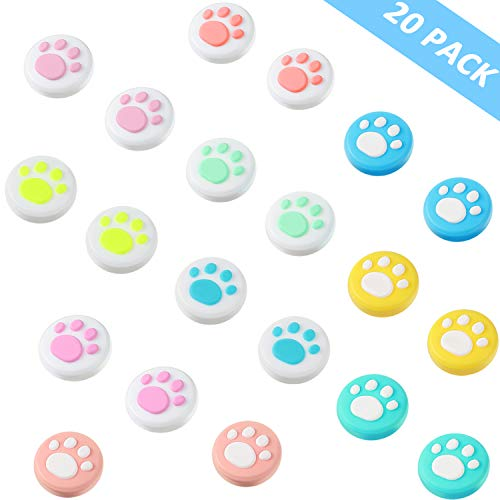 20 Pieces Cute Cat Claw Design Thumb Grip Caps Replacement Paw Thumb Grips Analog Stick Cover Joystick Cap Soft Silicone…