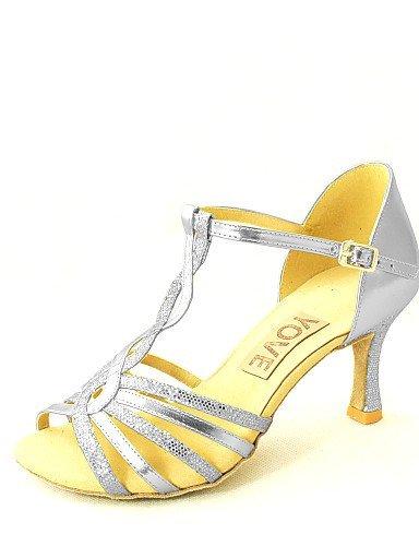 ShangYi Customizable Women's Dance Shoes Latin/Salsa Leatherette Customized Heel Black/Blue/Red/Silver/Gold Gold wLJHvpsj6