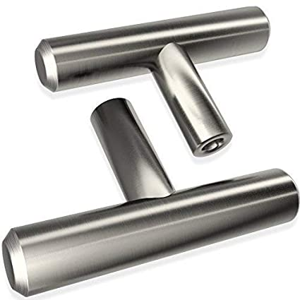 "Rok 2/"" Brushed Nickel Euro Kitchen Cabinet Bar Style T Knob Pull K9311850BN"