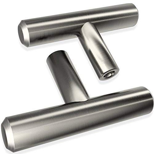 Alpine Hardware | 25 Pack ~ 2 Length | Fine-Brushed Satin Nickel Finish | Solid Steel T-Knob Pull