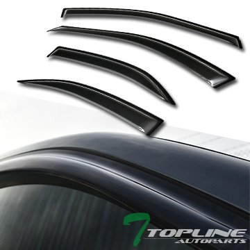 Topline Autopart Sun/Rain/Wind Guard Smoke Vent Shade Deflector Window Visors 4 Pieces 02-06 Toyota Camry