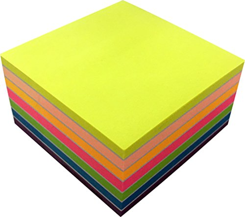4A Sticky Notes Cube In Ultra Colors, 3  x 3 Inches,Neon Assorted, 400 Sheets/Pad,1 Pad/Pack,4A 3034 (Sticky Cube Note)