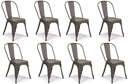 SET OF 8 Tolix Style Iron Chairs, COOPER MATTE ESPRESSO, Sturdy/Stackable Vintage Tabouret Chair, Bistro Chair, Café Chair Indoor and Outdoor Armless with Back