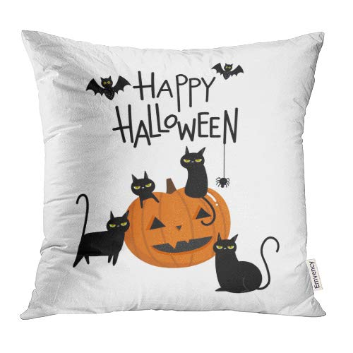 Emvency Decorative Throw Pillow Covers Cases Orange Cute Happy Halloween Pumpkin and Black Cat Cartoon Character Party Costume 20x20 Inch Case Cover Cushion Two Sided]()
