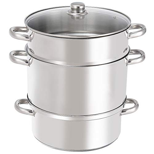 GHP 11-Quart Capacity Stainless Steel & Aluminum 3-Pot Juicer Steamer with Glass Lid