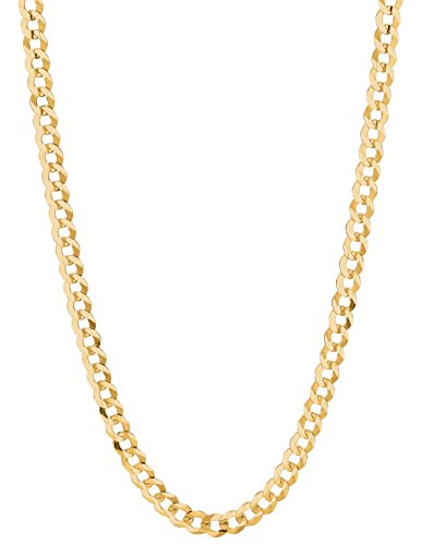 14K Solid Yellow Gold Comfort Concave Cuban Curb Link Chain Necklace 7 Mm (Cc180