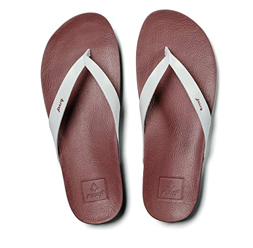 Reef Women's Sandals Cushion Bounce Court | Leather Flip Flops for Women with Cushion Bounce Footbed, Cloud, 7 (The Is Nearest Where)