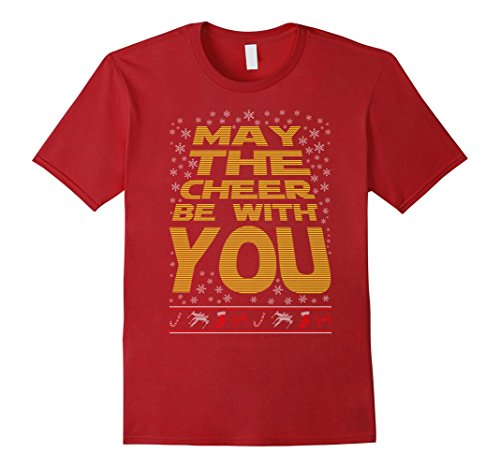 [Men's May The Cheer Be With You Xmas Christmas Ugly Tee Funny Gift Medium Cranberry] (Father Son Star Wars Costumes)