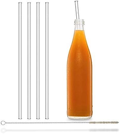 Pajitas de cristal reutilizables, 4 unidades rectas de 30 cm + cepillo de limpieza sin plástico, aptas para lavavajillas, pajitas de cristal, para botellas de bebidas