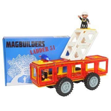 (A Mustard Seed Toys Magbuilders Magnetic Tile Fire Truck Toy - 34 Large Tiles Including 2 Firemen and Flashing Siren, Strong Magnets Make it Easy for Your Little Fireman to Build)