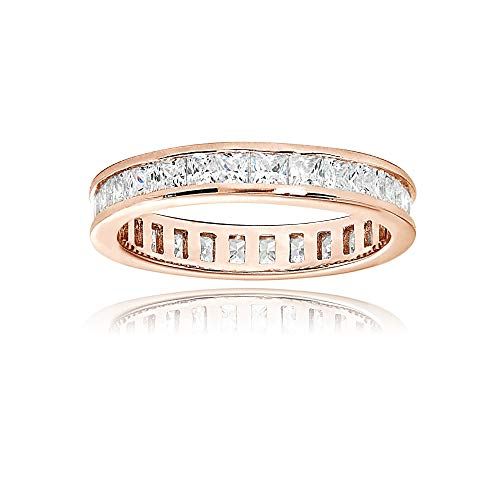 Rose Gold Flashed Sterling Silver Cubic Zirconia Princess-Cut 2mm Channel Set Polished Eternity Band Ring, Size 10