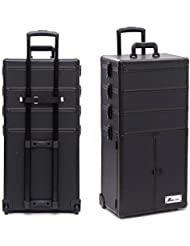 4 in 1 Professional Multifunction Artist Rolling Trolley Makeup Beauty Train Case Salon Cosmetic Organizer (#2...
