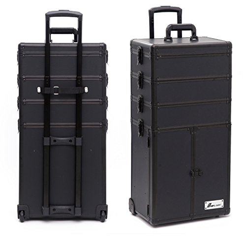 4 in 1 Professional Multifunction Artist Rolling Trolley Makeup Beauty Train Case Salon Cosmetic Organizer (#2 black) by Jack·F