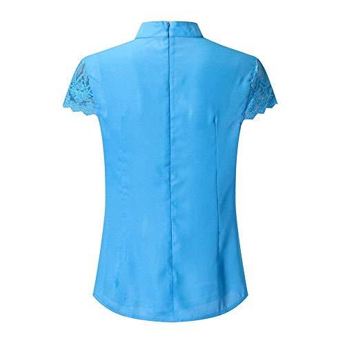 Splicing Haut Cou Manche Blouse Chemise Dentelle Courtes Uni Femme Dsinvolte Casual Battercake Dame Fashion Et Blau Elgante V Mousseline Shirt Tops Dame Manches WqnXw0UUdz