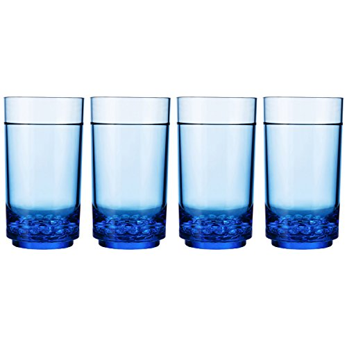 Drinique ELT-TA-BLU-4 Elite Tall Unbreakable Tritan Highball Glasses, 14 oz (Set of 4), Blue by Drinique