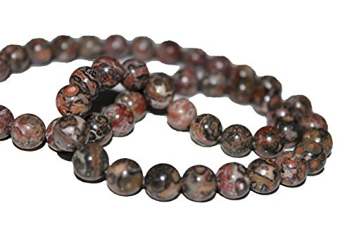 Leopard Skin Jasper 8mm Natural, Energy Gemstone | Healing Power for Jewelry Making | Loose Beads | 1strand 15.5 inch (46-50 Beads) | Well Polished Round | Oxxysaon (Leopard Skin Jasper, 8mm) ()