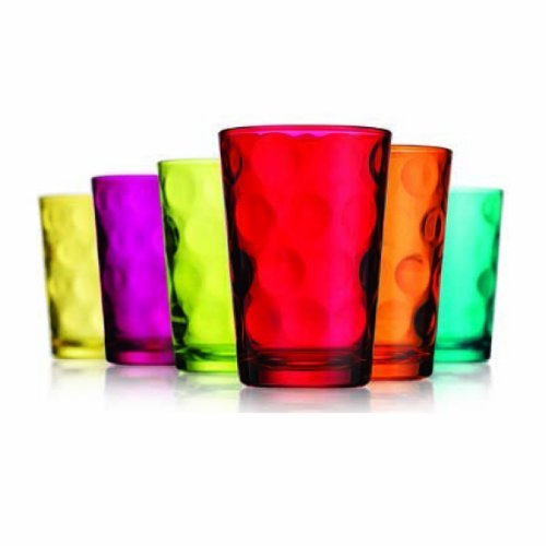 Home Essentials & Beyond Eclipse Elegant Drinkware Glassware Set of 6 Wine Beer Cocktail Beverage Glasses 7 Oz Tablesetter Perfect for Home Parties & Bars Vibrant - Glass Juice Glasses
