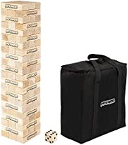 VALUE BOX 66PCS Giant Tumble Tower, Pine Wooden Toppling Timber Game with 1 Dice Set - Classic Block Wood Stac