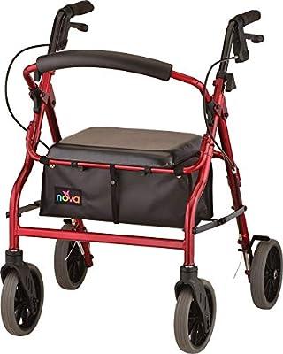"NOVA Zoom Rollator Walker with 20"" Seat Height, Red"
