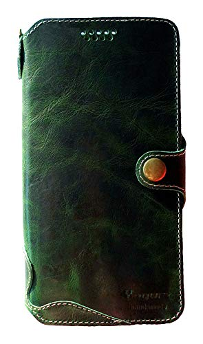 Yogurt for Google Pixel 2 (2017) (5 Inch) Genuine Leather Wallet Cases Cover Handmade Green