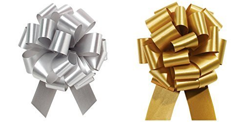 Christmas Gift Wrap- Gold & Silver Pull Bows Value Pack - 12 Pcs by Bows & Ribbons