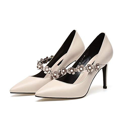 Yukun zapatos de tacón alto Zapatos De Mujer De Otoño PU Zapatos De Mujer Zapatos De Mujer De Tacón Alto Aguja De Flor De Aguja Superficial Apricot