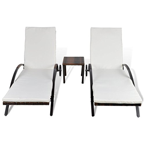 Festnight Set of 2 Outdoor Patio Wicker Chaise Lounge Chair ,1 Table, W / Cushions Sun Lounger Set Poly Rattan (2 1 Lounge)
